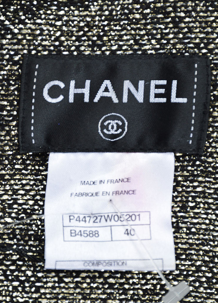 Black Chanel Metallic Tweed Lining Long Sleeve Shift Dress Brand
