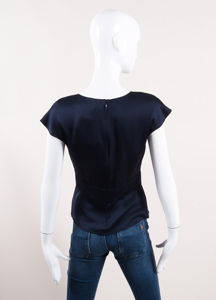 Chanel Navy Blue Silk Satin Peplum Sleeveless Blouse Back View