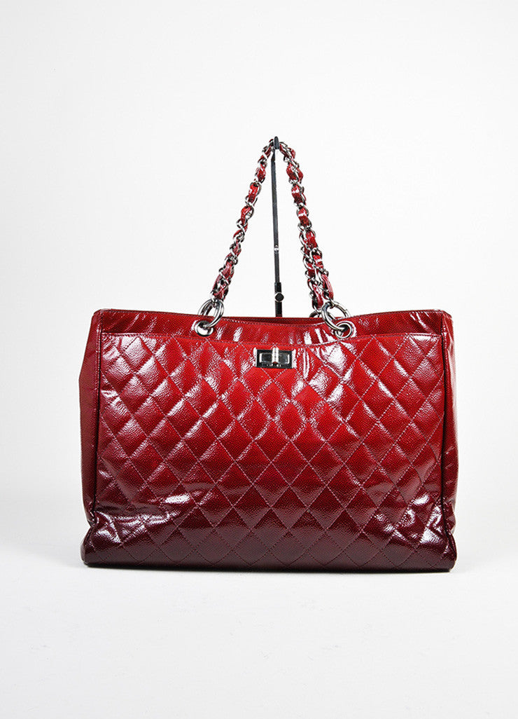 Red Ombre Chanel Glazed Caviar Leather Quilted Tote Bag Front