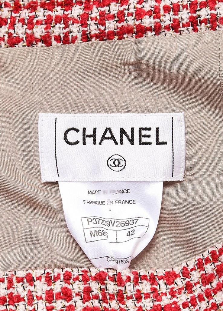 Chanel Red and White Wool Blend Tweed Fringe Trim Jacket Skirt Suit Brand