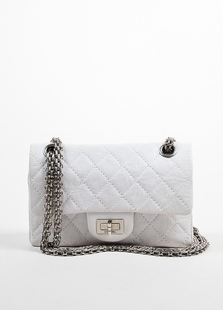 "White Aged Calf Skin Chanel ""New Mini"" 2.55 2005 Limited Ed Reissue Flap Bag Frontview"