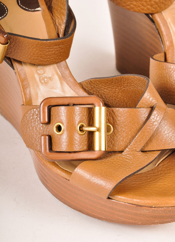 Chloe Brown Leather and Wood Buckle Ankle Strap Wedges Detail
