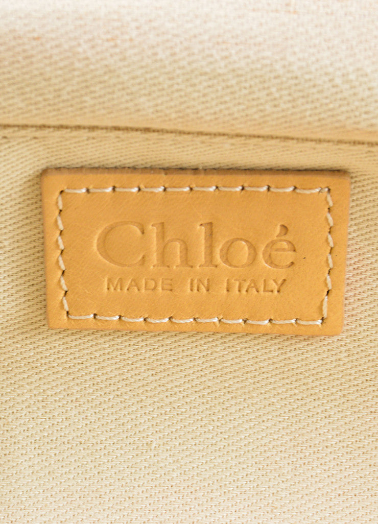 Chloe Cream, Yellow, and Silver Toned Canvas Beaded Kiss Lock Frame Clutch Bag Brand