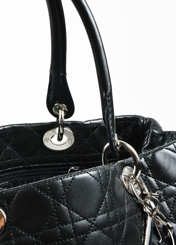 "å´?ÌÜChristian Dior Black ""Cannage"" Quilted Leather Large ""Lady Dior"" Tote Bag Detail 2"