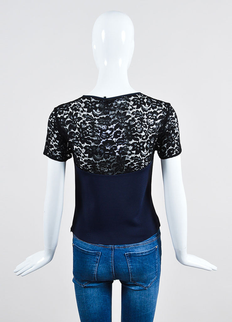 Navy Blue and Black Christian Dior Knit Sheer Lace Short Sleeve Crop Top Backview