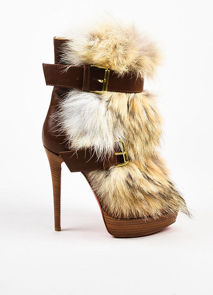 "Christian Louboutin Brown Leather Fur ""Toundra Booty 140"" Boots Sideview"