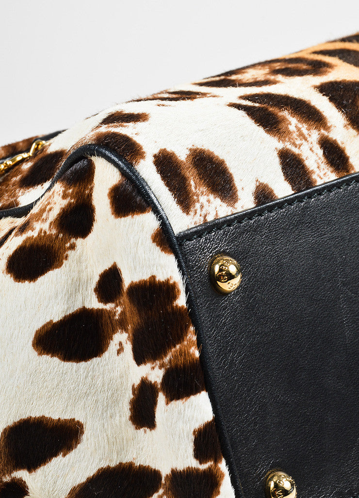 "Dolce & Gabbana Cream and Brown Pony Hair Leopard Print ""Miss Sicily"" Bag Detail"