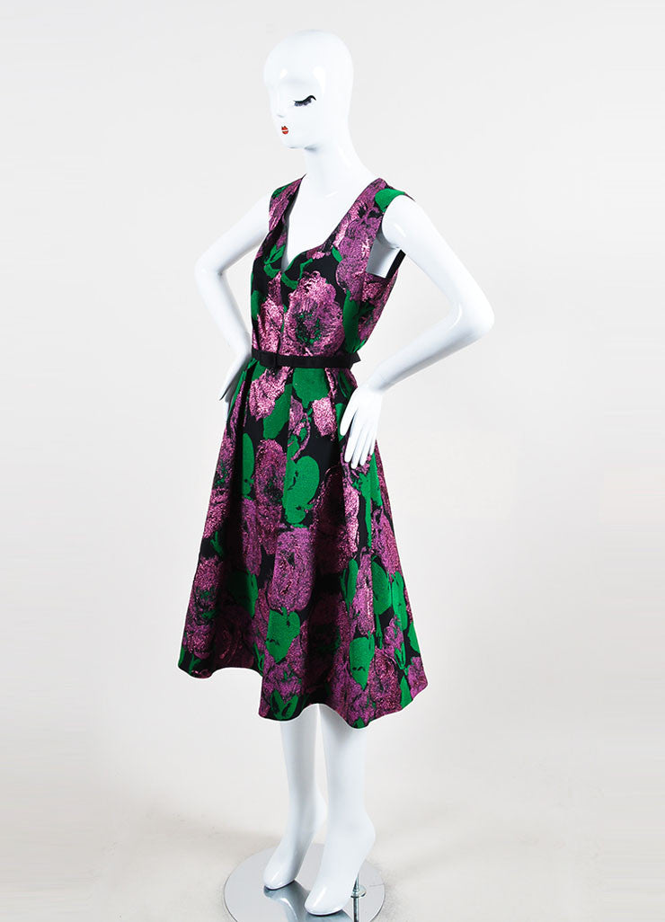 "Erdem Black, Green, and Purple Jacquard Sleeveless V-Neck ""Kuni"" Dress  Sideview"