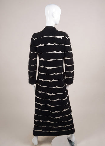 Escada Black and Cream Wool Knit Long Cardigan Sweater Backview