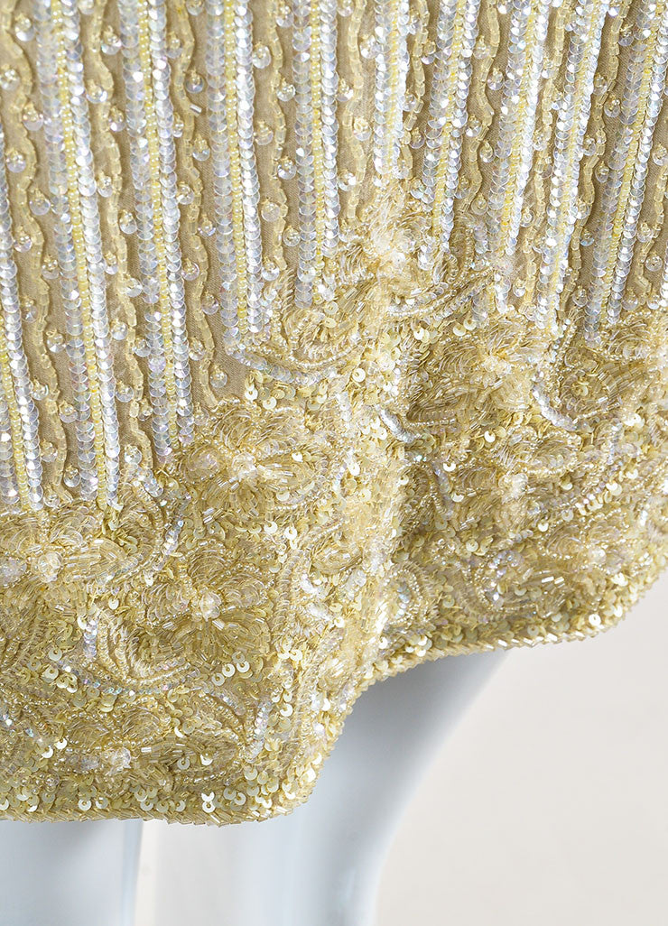 Escada Tan Silk Sequin Beaded Embellished Mini Skirt Detail