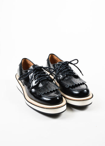 "Black Givenchy Patent Leather Fringed ""Derby"" Oxford Creepers Frontview"