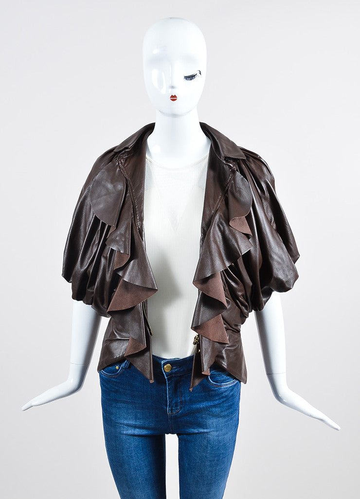 Brown Givenchy Leather Ruffle Short Sleeve Jacket  Frontview