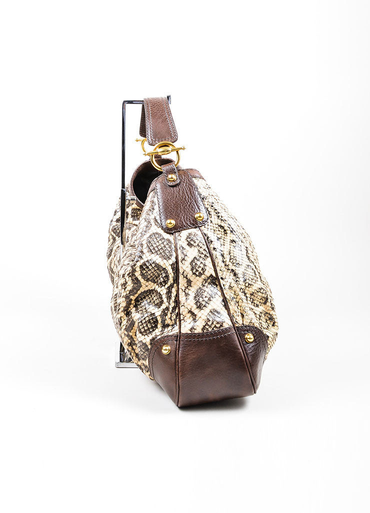 Brown and Cream Gucci Python Leather Large Horsebit Hobo Bag Sideview