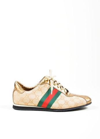 Gucci Beige Canvas Metallic Leather Monogram Stripe Sneakers Sideview