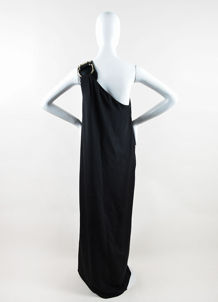 Gucci Black and Yellow Silk Patent Leather Belt One Shoulder Slit Gown Backview