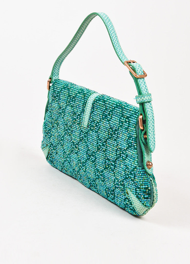 Gucci Green Beaded Lizard 'GG' Mini Flap Handbag Back