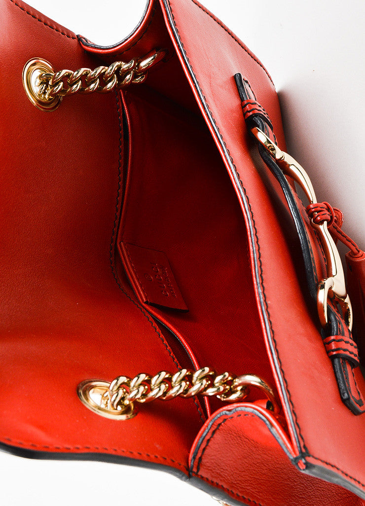 "Red Gucci Leather ""Emily"" Horsebit Tassel Chain Strap Shoulder Bag Interior"