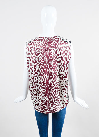 Haider Ackermann Black Red White Silk Leopard Print Sleeveless Top Back