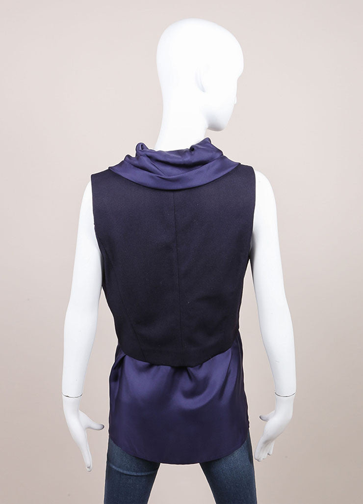 Haider Ackermann New With Tags Navy Combo Short Sleeve Waistcoat Vest Backview