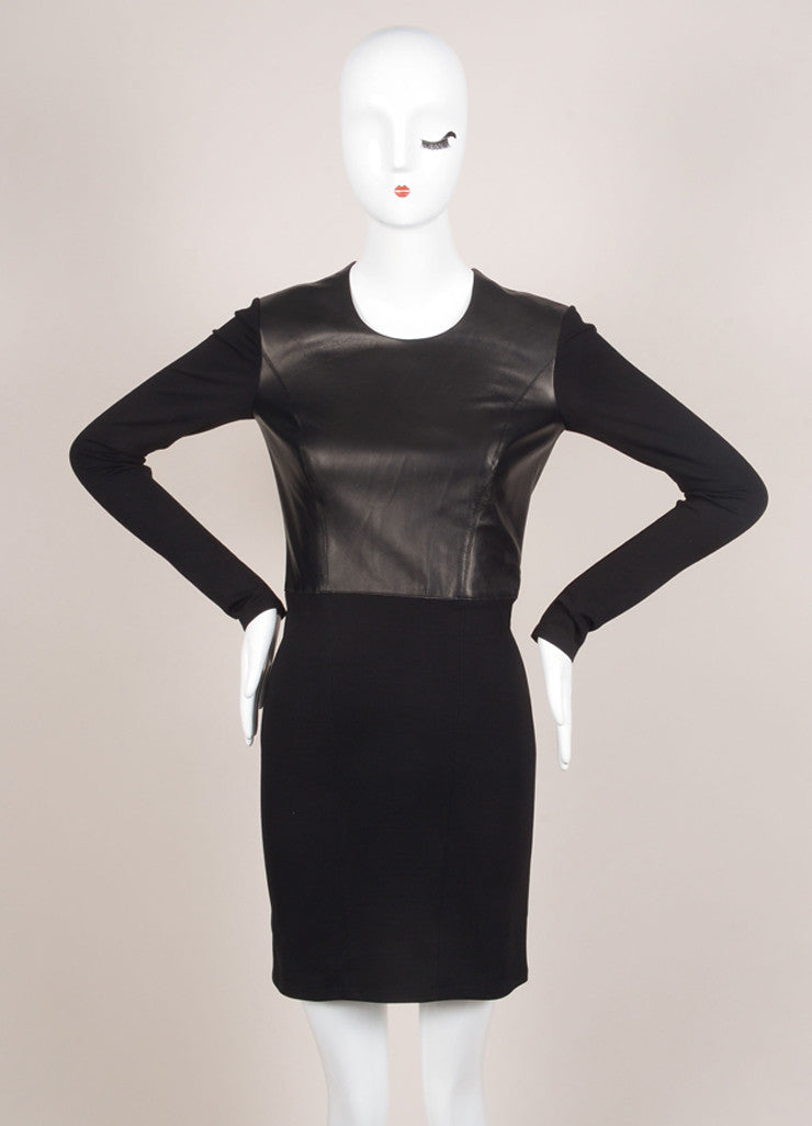 HELMUT Helmut Lang New With Tags Black Leather Knit Long Sleeve Dress Frontview