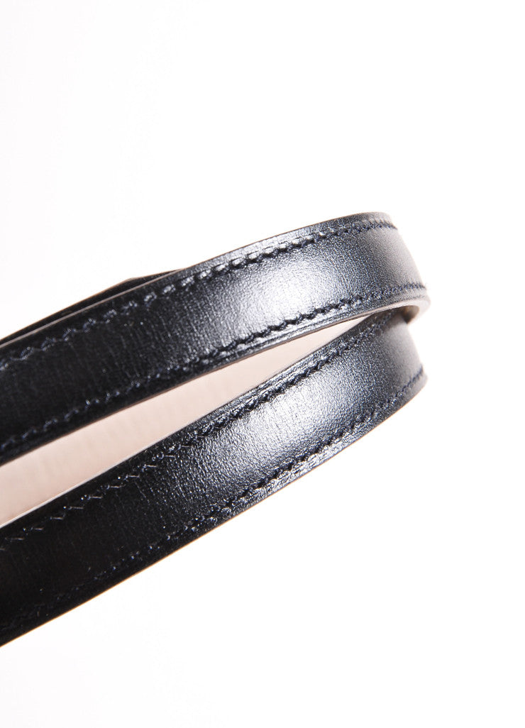 Hermes Black and Gold Toned Prong Buckle Skinny Leather Belt Detail 2