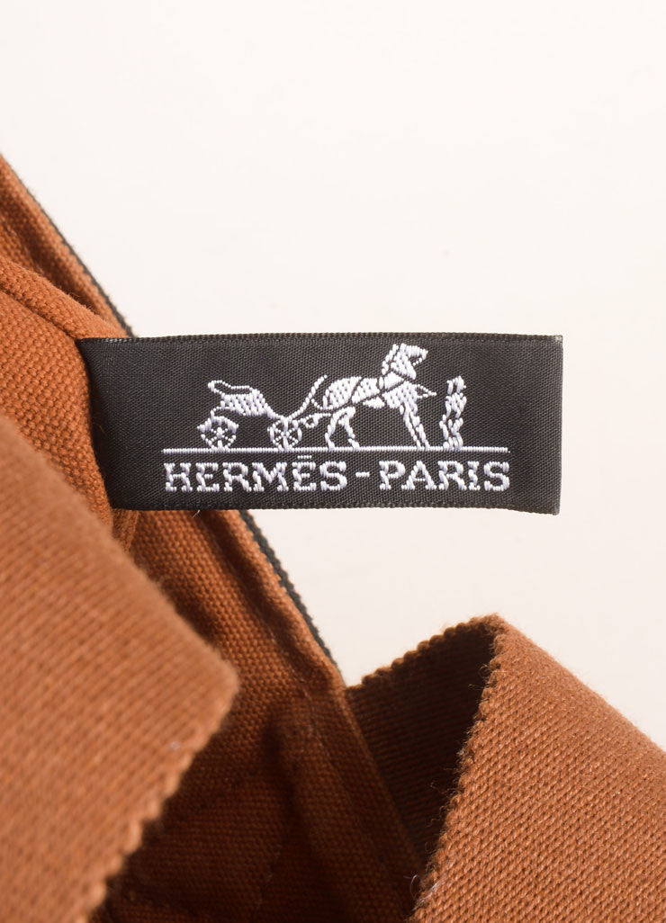 Hermes Brown and Black Woven Bucket Bag Brand