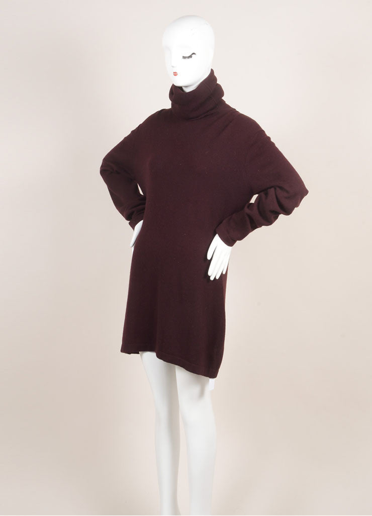 Hermes Maroon Cashmere Knit Turtleneck Tunic Sweater Dress Sideview