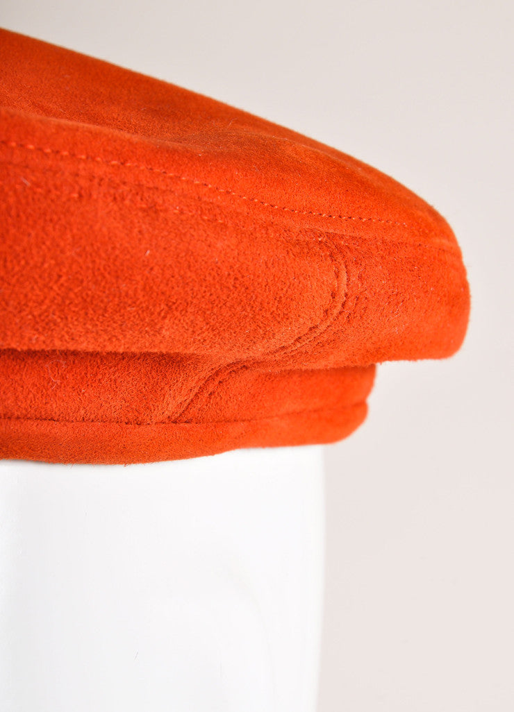 Hermes Red Suede Leather Beret Hat Detail
