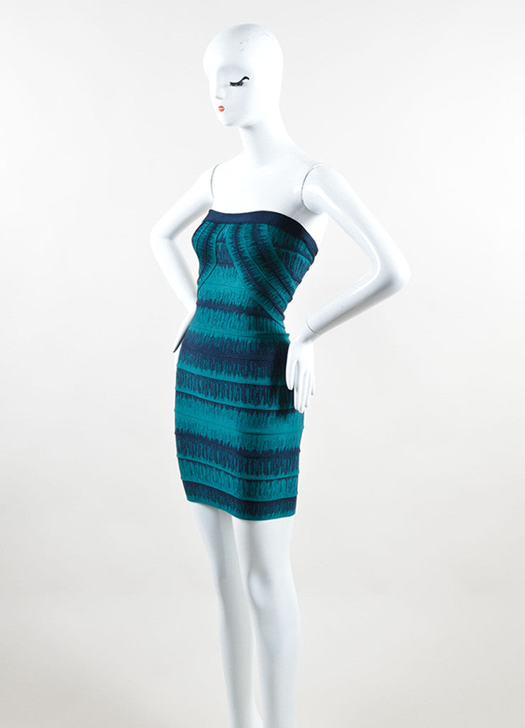 Herve Leger Teal and Navy Spandex Knit Strapless Bandage Dress Sideview