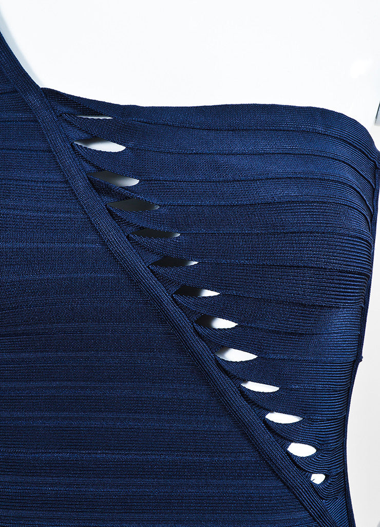 "Herve Leger ""Pacific Blue"" One Shoulder ""Sheron"" Bandage Dress Detail"