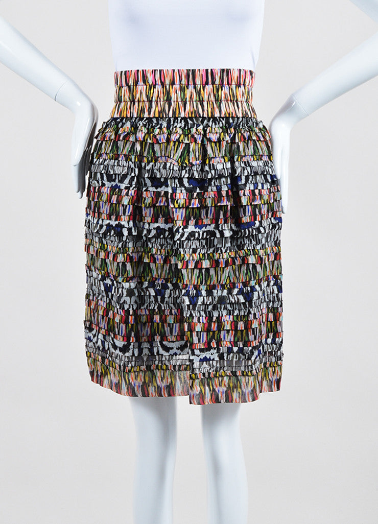 Multicolor Isabel Marant Silk Tiered Ruffled Printed Mini Skirt Frontview