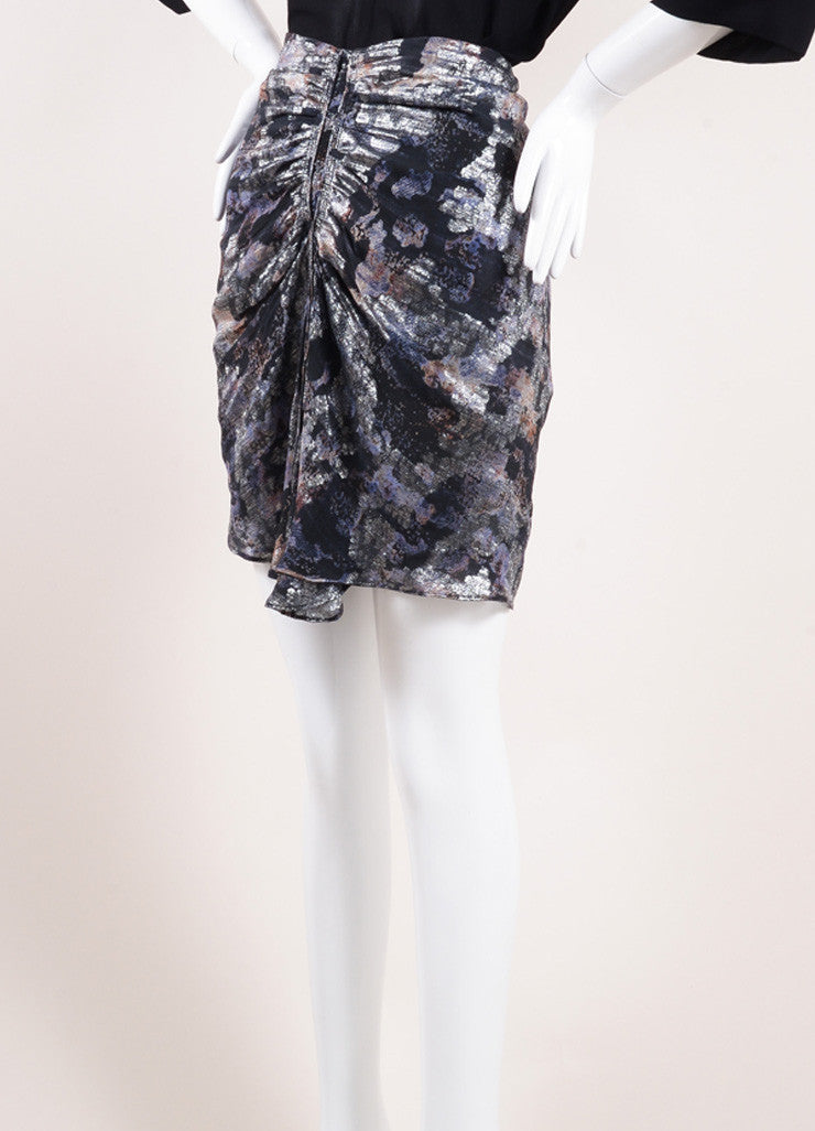 "Isabel Marant Black and Silver Floral Print Ruched ""Georgette"" Skirt Sideview"