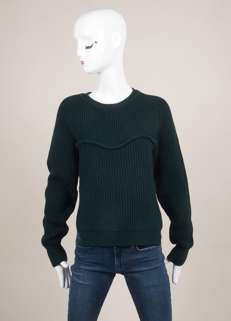 "Isabel Marant New With Tags Dark Green Chunky Wool Knit ""Nils Montaign"" Sweater Frontview"