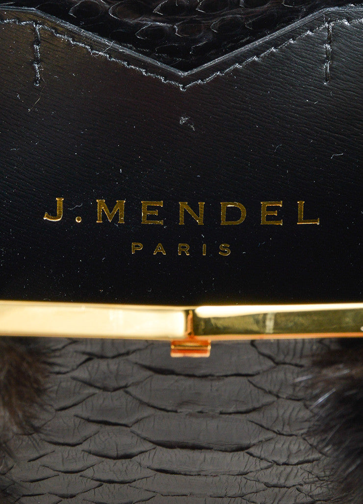 J. Mendel Black Python and MinkTop Handle Minaudiere Clutch Bag Brand