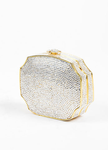 Judith Leiber Crystal Gold Toned Minaudiere Clutch Evening Bag Sideview