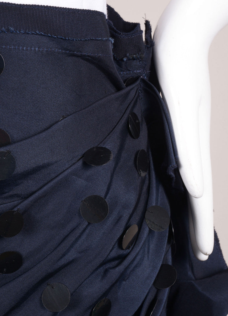 Lanvin Navy Blue Silk Paillette Embellished Ruched Skirt Detail