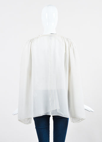 Off White Lanvin Sheer Silk Chiffon Tassel Shoulder Long Sleeve Blouse Backview