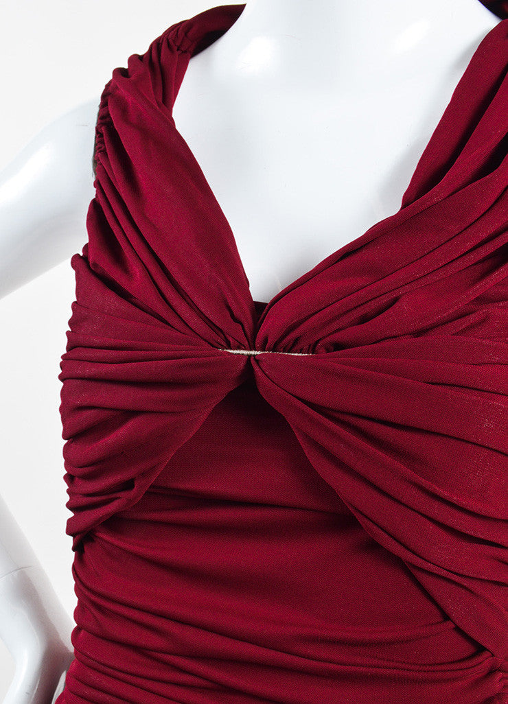 "Lanvin Burgundy Red ""Raisin"" Stretch Knit Long Draped Dress Detail"