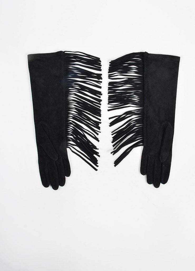 Black Lanvin Goat Suede Fringed Medium Length Gloves Backview