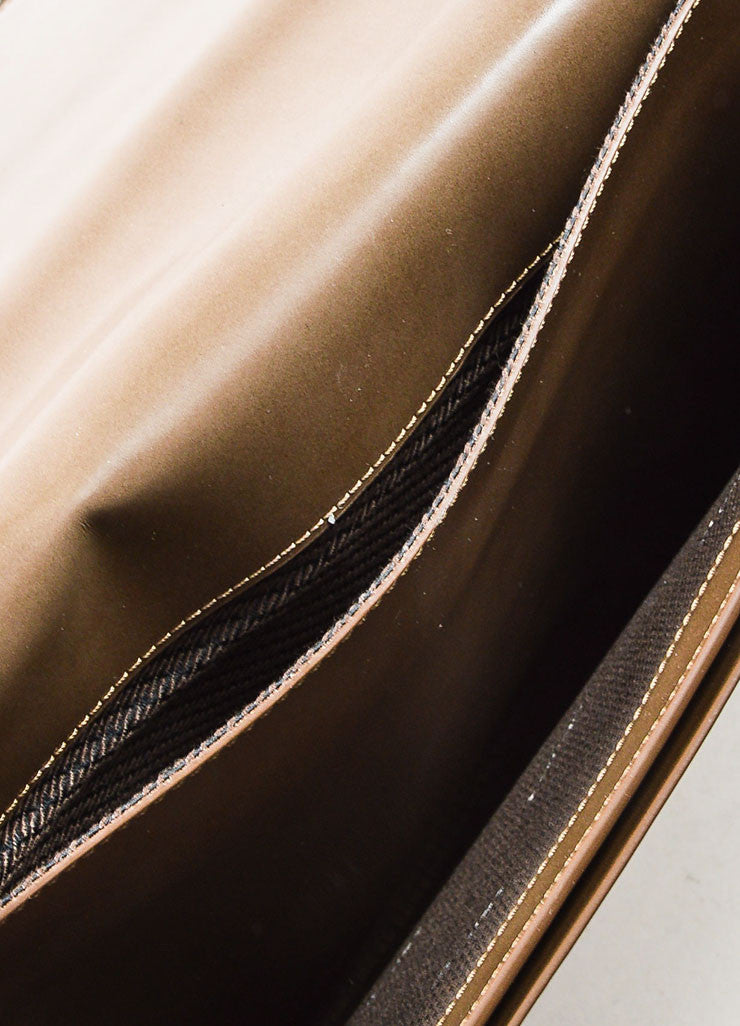 Lanvin Taupe Leather Fold Over Document Portfolio Clutch Interior 2