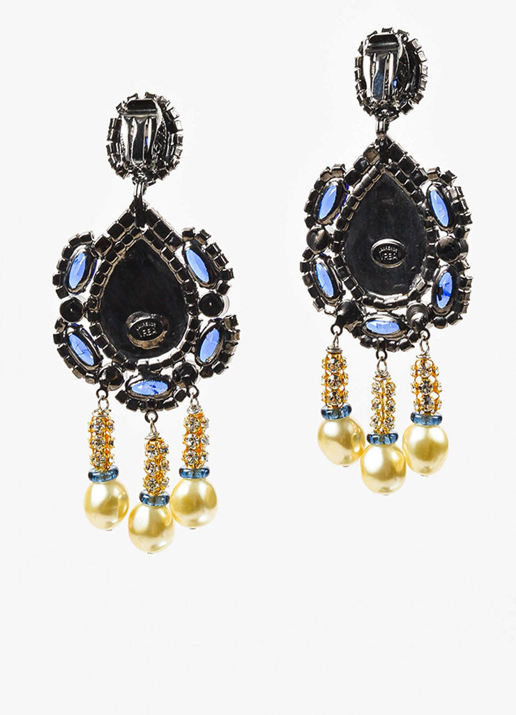 Lawrence Vrba Blue and Gold Toned Rhinestone Faux Pearl Oversized Drop Earrings Backview