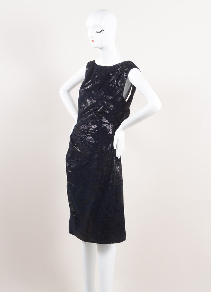 Lela Rose New With Tags Metallic Navy Jacquard Draped Back Sleeveless Dress Sideview