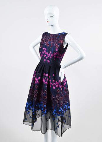 Navy, Pink, and Blue Lela Rose Wool and Silk Brocade Sleeveless Flared Midi Dress Sideview