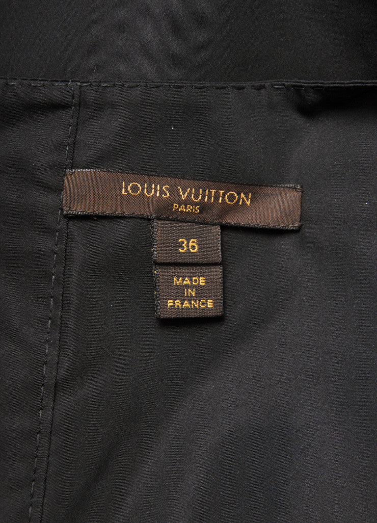 Louis Vuitton Black Silk Blend Bow Detail Embellished Cap Sleeve Shell Top Brand