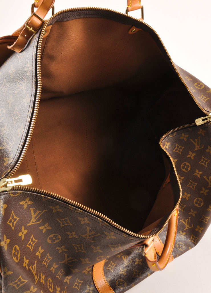 "Louis Vuitton Brown and Tan Coated Canvas and Leather Monogram ""Keepall 60"" Duffel Bag Interior"
