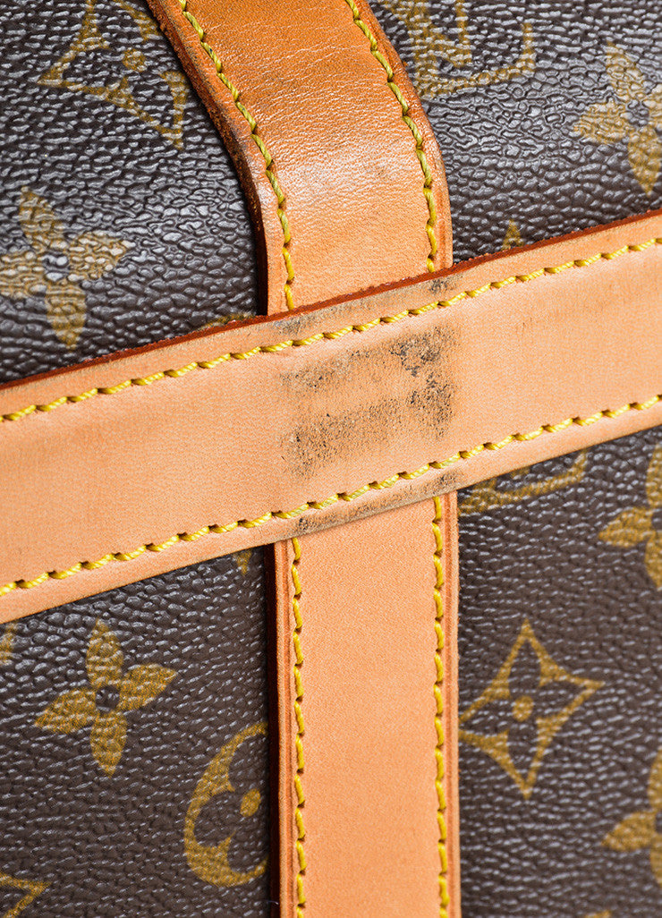 "Louis Vuitton Brown and Tan Coated Canvas and Leather Monogram Logo ""Dog Carrier 50"" Bag Detail 2"