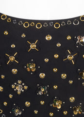 Louis Vuitton New With Tags Black and Gold Toned Beaded Cut Out One Piece Swimsuit Detail