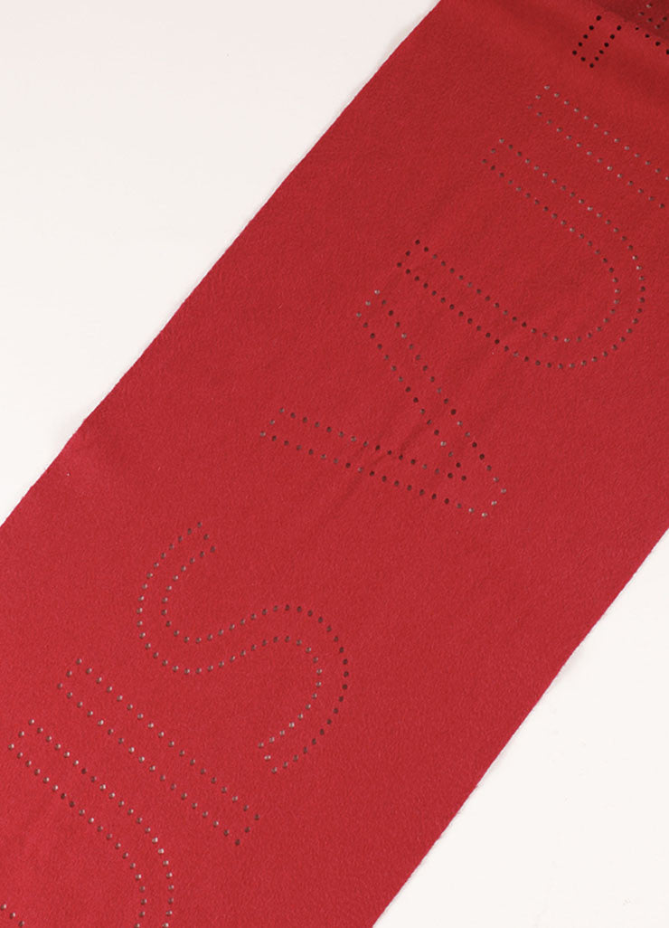 Louis Vuitton Red Cashmere Perforated Scarf Detail 2