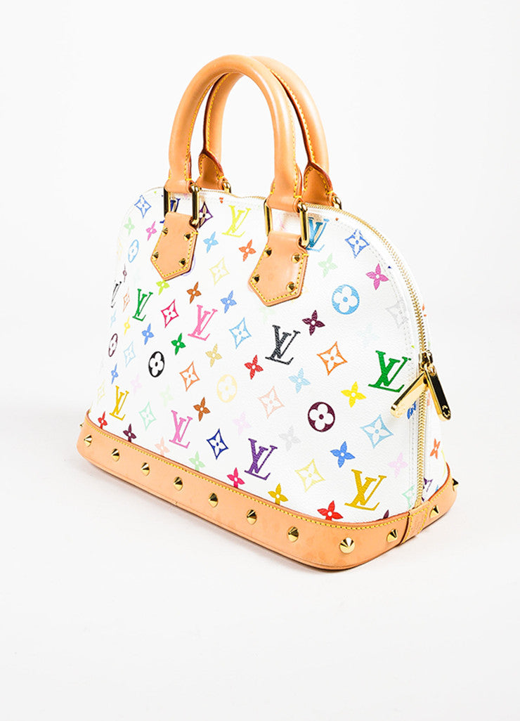"Louis Vuitton White ""Multicolore Monogram Alma"" Canvas & Leather Trim Bag Sideview"
