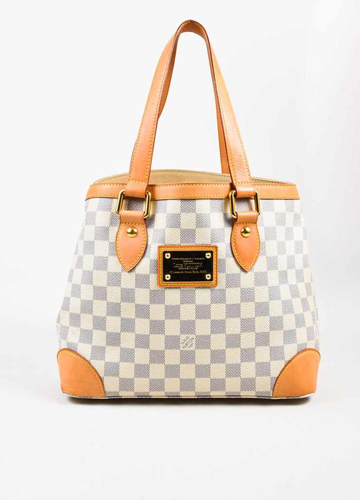 "Louis Vuitton White, Tan, and Blue Coated Canvas Damier Azur ""Hampstead PM"" Bag frontview"